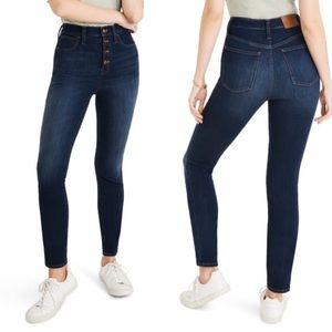 """NEW Madewell 10"""" High Rise Button Fly Skinny Jeans"""